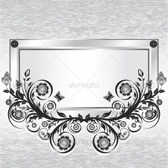 Grunge metal background with frame and ornament - Borders Decorative