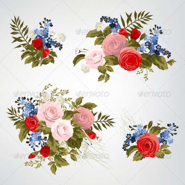 GraphicRiver Set of Bouquets of Roses 7784795