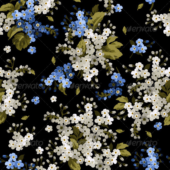 GraphicRiver Seamless Floral Pattern with Forget-Me-Not 7784809