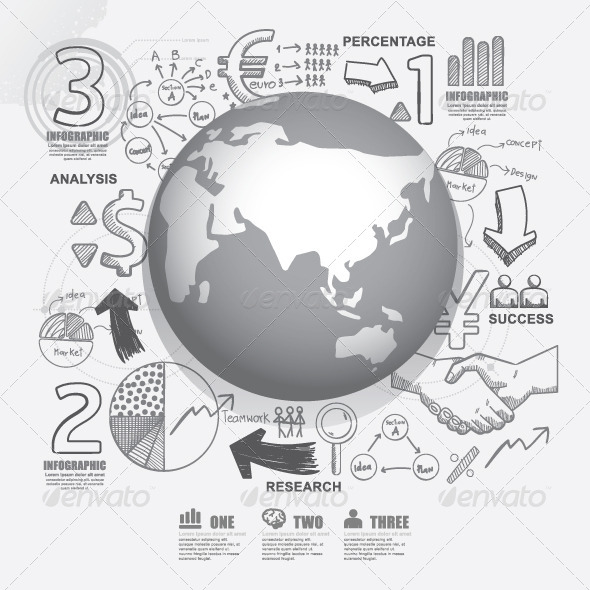 GraphicRiver World Business Doodles Line Drawing Concept 7784955