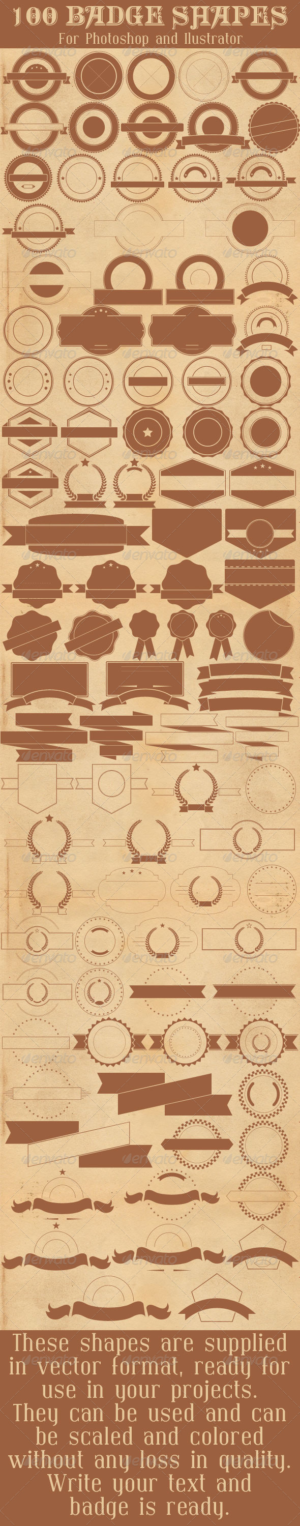GraphicRiver 100 Badge Shapes 7784960