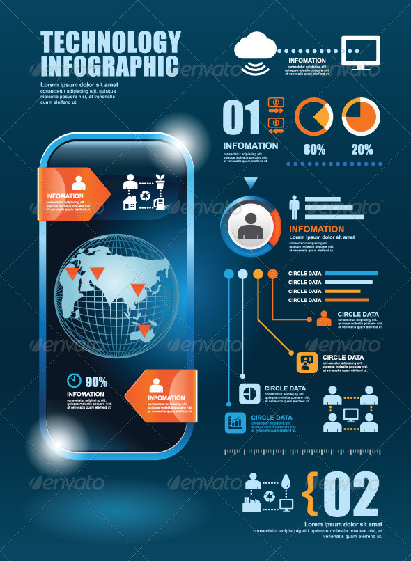 GraphicRiver Infographic Technology Elements Design Template 7785303