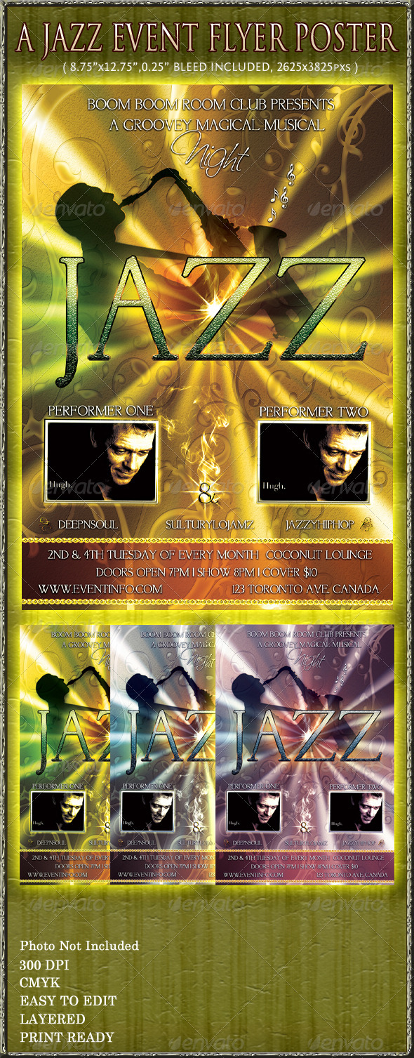 Jazz Event Flyer Poster - Clubs & Parties Events