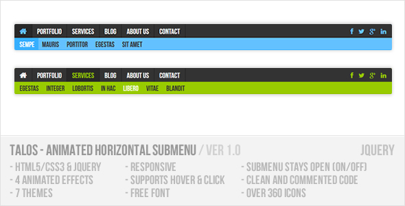 CodeCanyon Talos Animated Horizontal Submenu jQuery Plugin 7785343