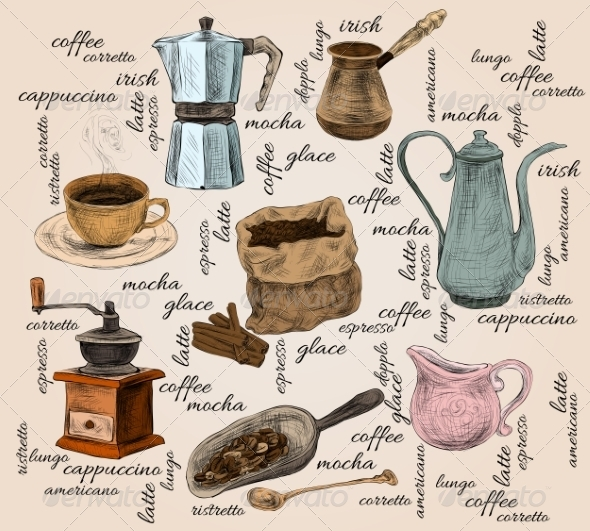 GraphicRiver Vintage Coffee Handdrawn Set 7785390