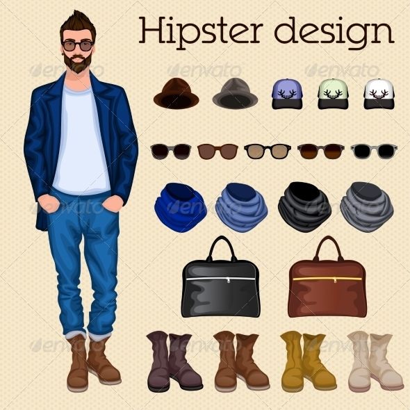 GraphicRiver Hipster Guy Elements 7785422