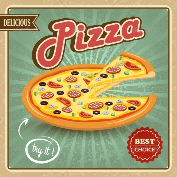 GraphicRiver Pizza Retro Poster 7785444