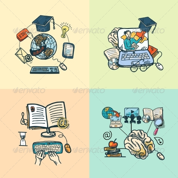 GraphicRiver Online Education Icon Sketch 7785537