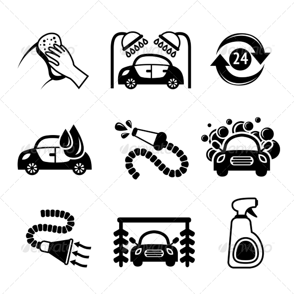 GraphicRiver Car Wash Icons Black and White 7785596