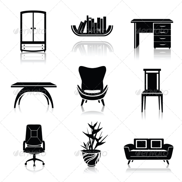 GraphicRiver Furniture Black Icons 7785601