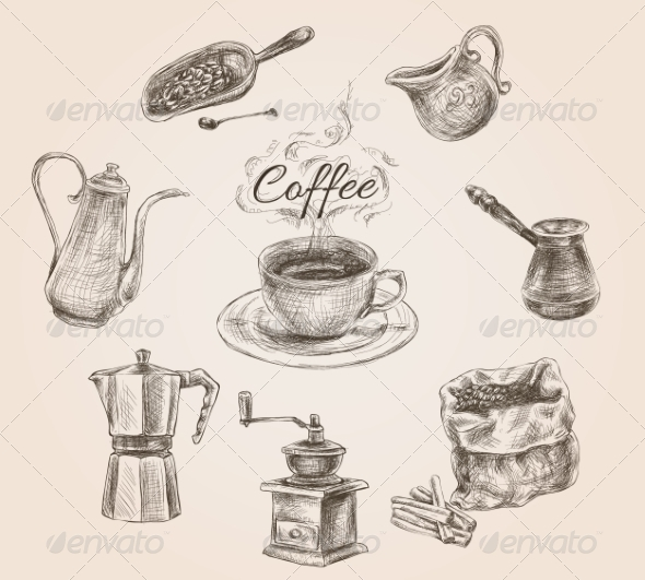 GraphicRiver Hand Drawn Retro Coffee Set 7785614