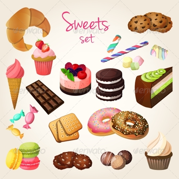 GraphicRiver Sweets and Pastry Set 7785621
