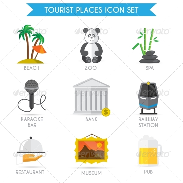 GraphicRiver Building Tourism Icons Flat 7785628