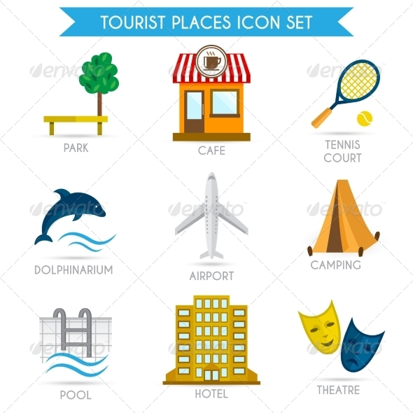 GraphicRiver Building Tourism Icons Flat 7785631
