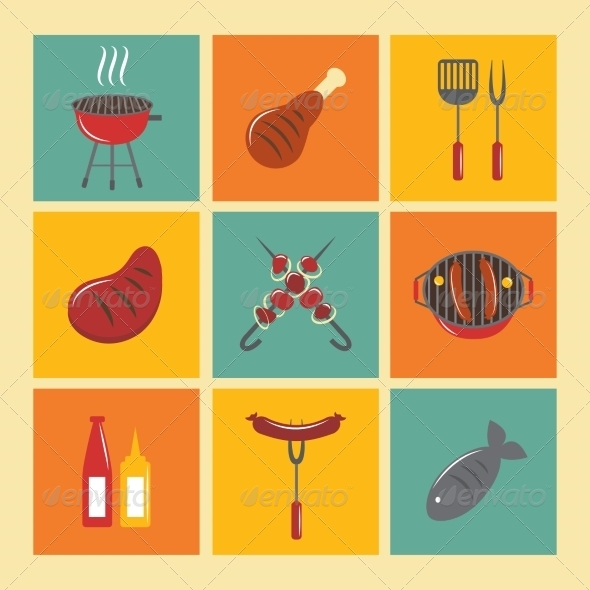 GraphicRiver Bbq Grill Icons Flat Set 7785632