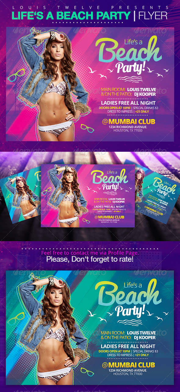 GraphicRiver Life is a Beach Party Flyer Template 7786183