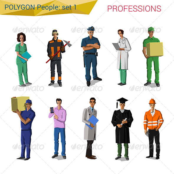 GraphicRiver Polygonal Style People Professionals Set 7786363