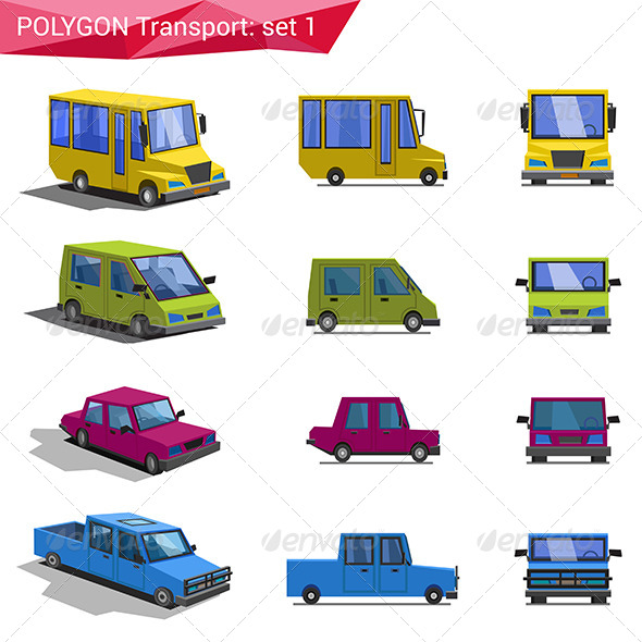 GraphicRiver Polygonal Style Transport Icon Set 7786445