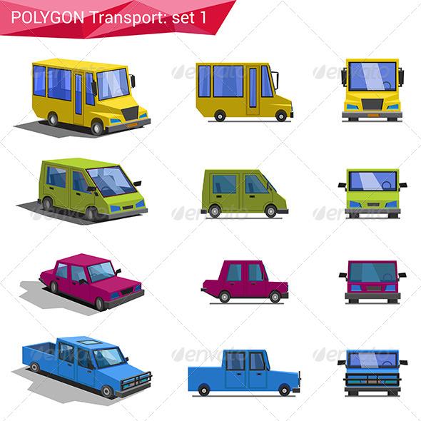 Polygonal Style Transport Icon Set