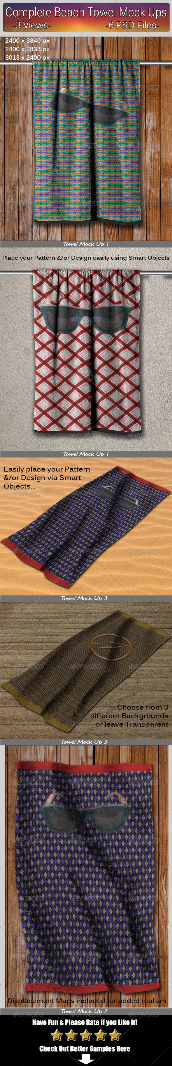 GraphicRiver Complete Beach Towel Mock Ups 7786860