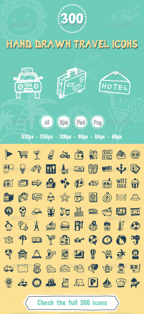 GraphicRiver 300 Travel Hand Drawing Icons 7786901