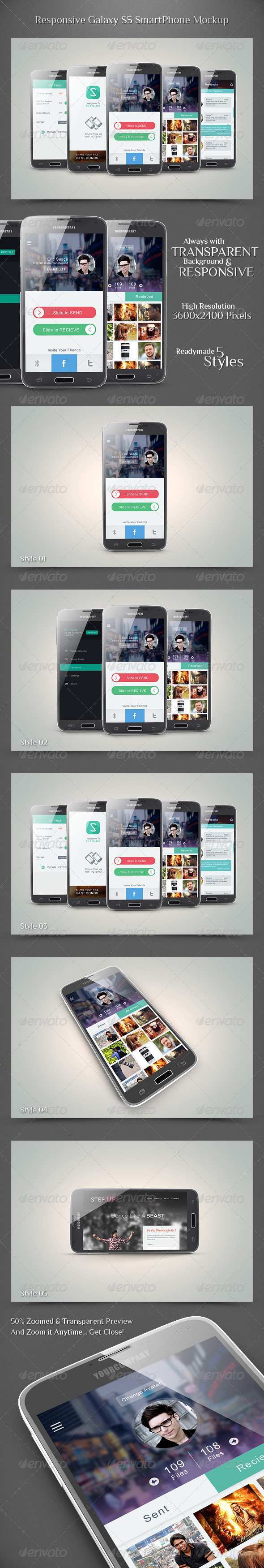 Responsive Galaxy S5 Smartphone Mockup - Mobile Displays