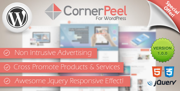 Stop annoying your visitors with popups and intrusive advertising.With the Corner Peel Plugin you can add advertising to the top right corner of your website wi