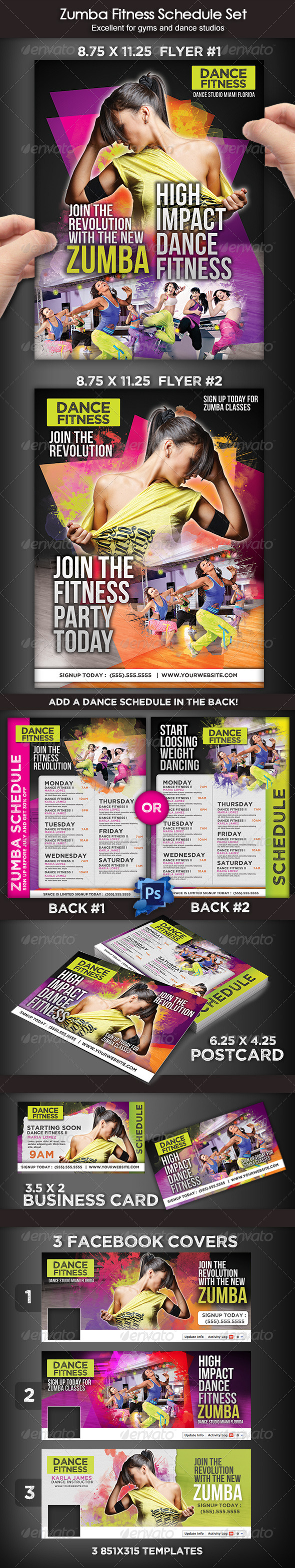GraphicRiver Zumba Dance Fitness Set 7758294