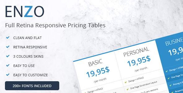 CodeCanyon Enzo Full Retina Responsive Pricing Tables 7784813
