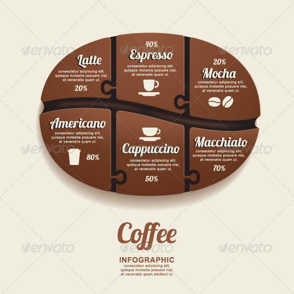 GraphicRiver Infographic Template Coffee Bean Jigsaw banner 7788354