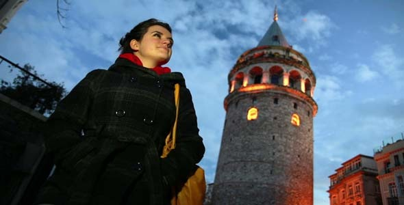 Woman At Tower Istanbul Turkey