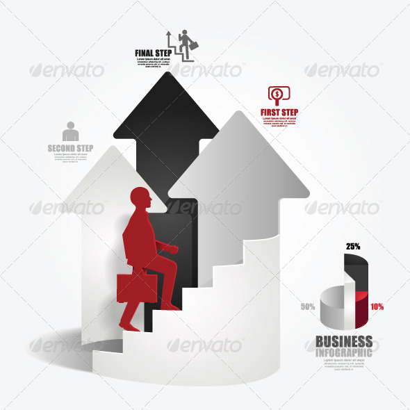 Businessman Up the Arrow Ladder Paper Cut Style
