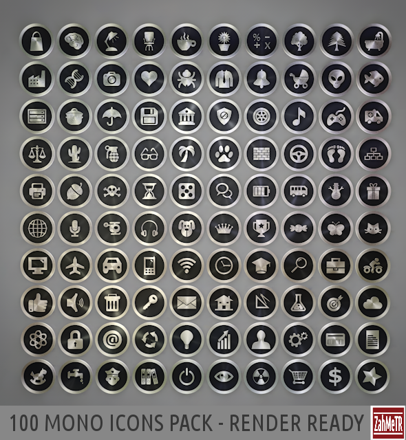 100 Mono Icons Mixed Pack
