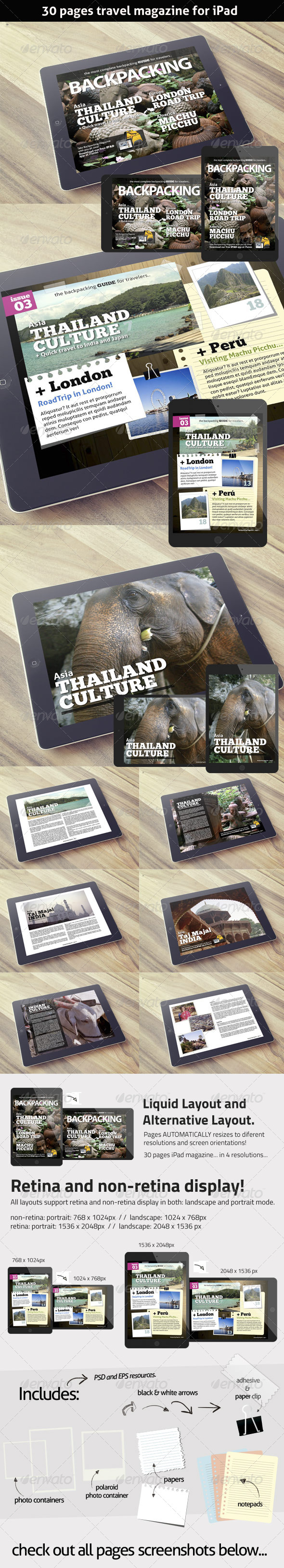 GraphicRiver BackPacking Magazine Template for iPad 7789397