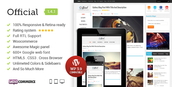 Official Responsive WordPress News, Magazine, Blog