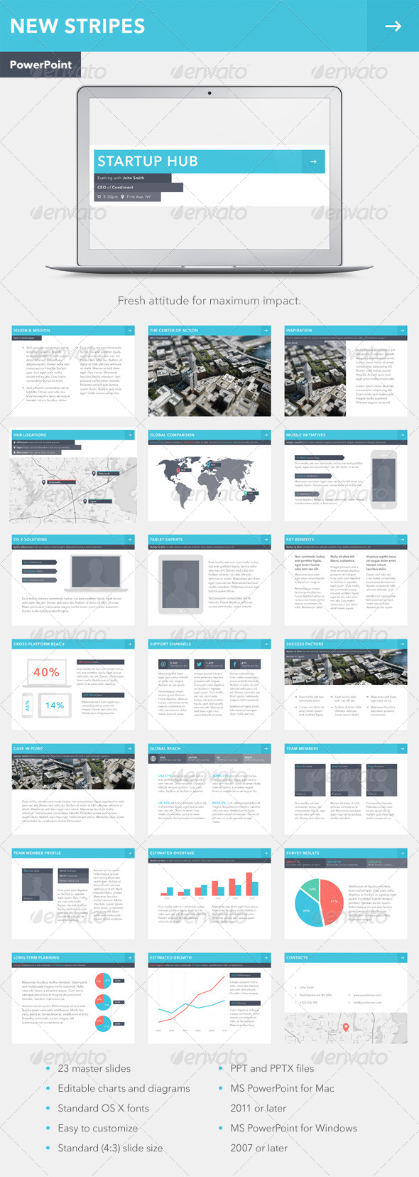 GraphicRiver New Stripes PowerPoint Template 7789560