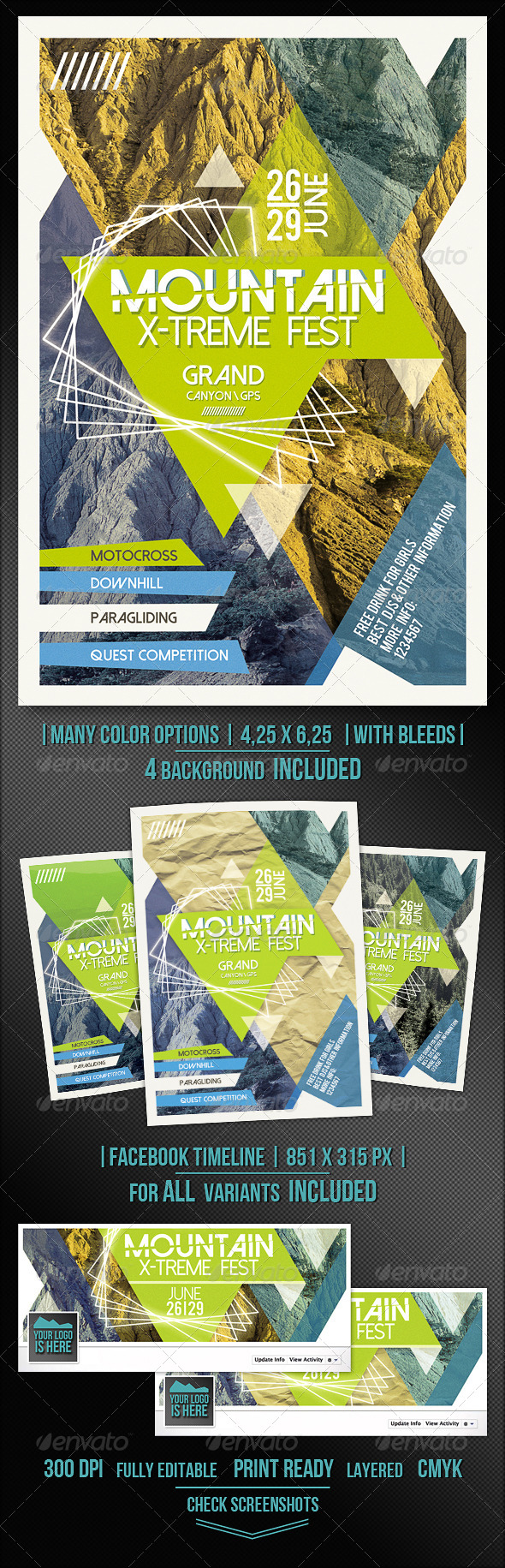 GraphicRiver Mountain X-treme Flyer Template 7684067
