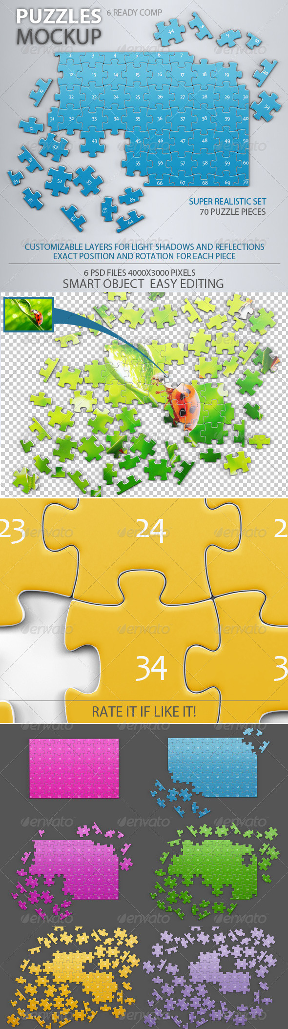 GraphicRiver Puzzles 70 Pieces Mock-up 7789991