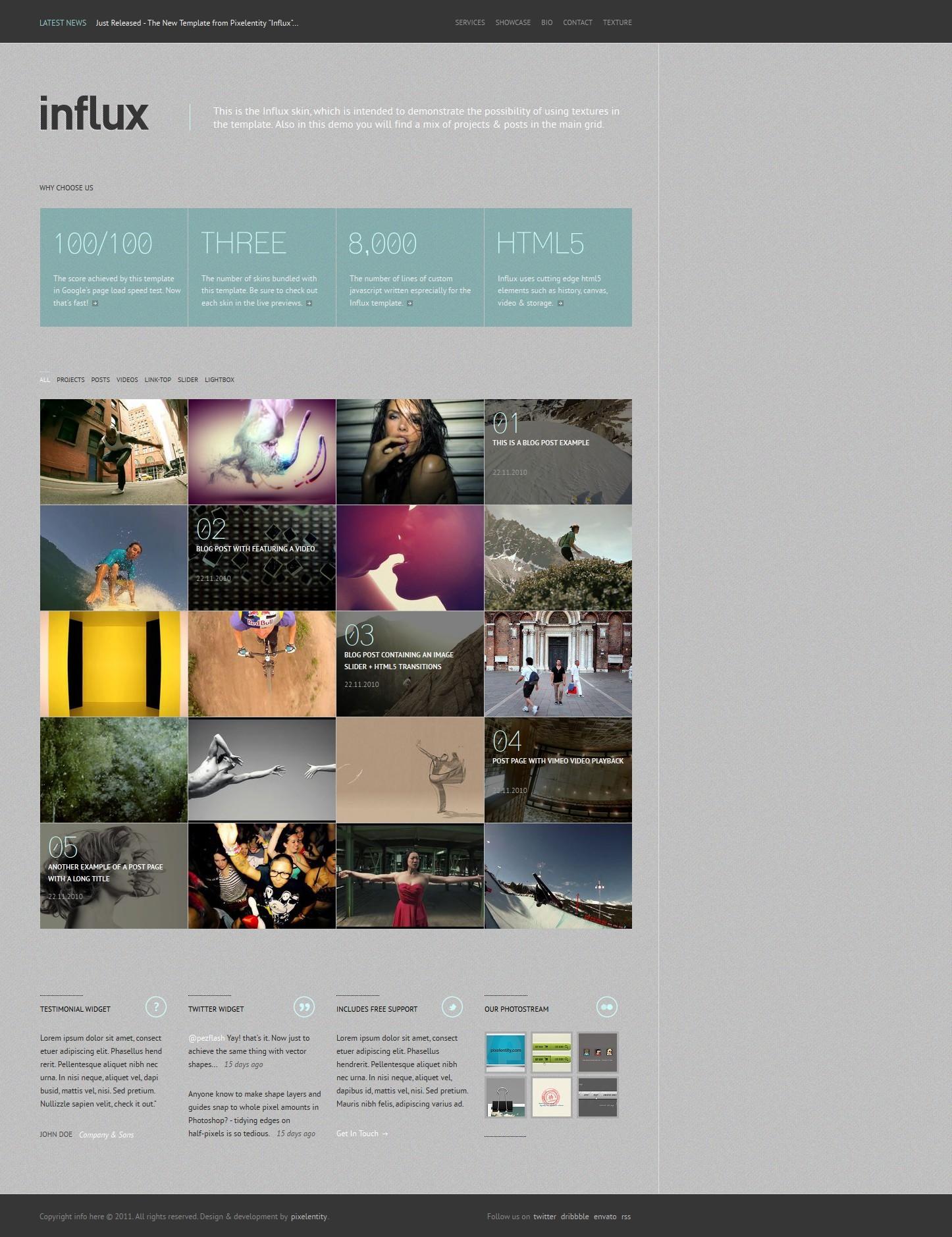 Influx - Ajax / HTML5 Business Portfolio Template