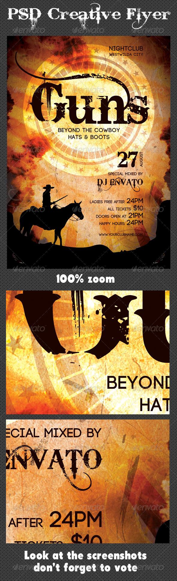 GraphicRiver Cowboys Music Retro Party Flyer 7771454