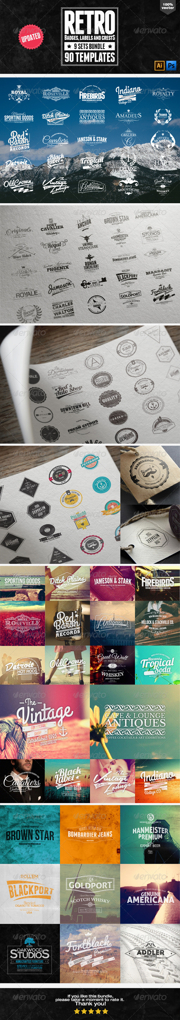 90 Retro Badges, Labels and Crests Bundle - Badges & Stickers Web Elements