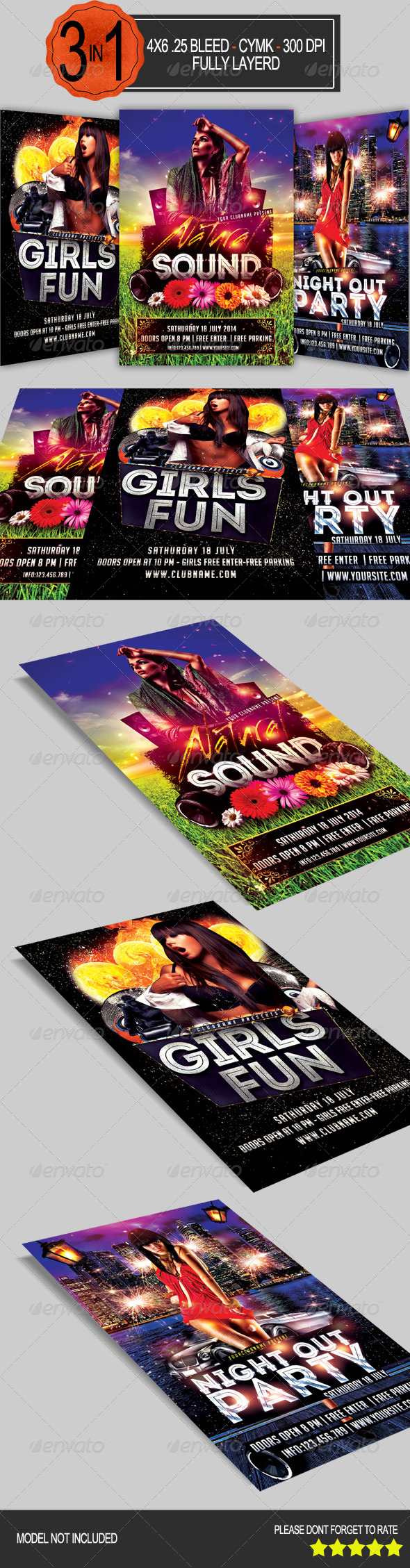 GraphicRiver 3 in 1 Party Flyer Pack 7791241