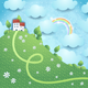 Fantasy Landscape with Hill and Village - GraphicRiver Item for Sale