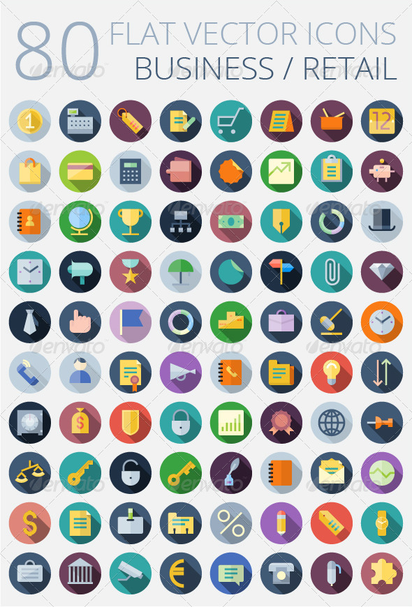 GraphicRiver Flat Vector Icons for Business 7791763