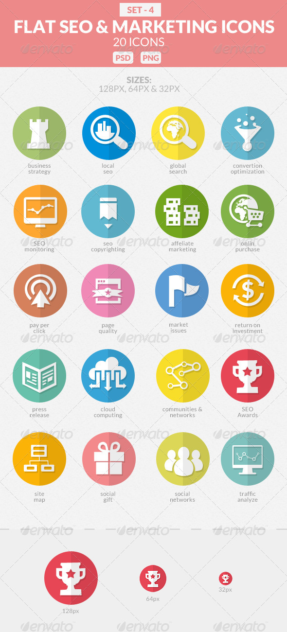 GraphicRiver Flat SEO & Marketing Icons Pack 4 7791764