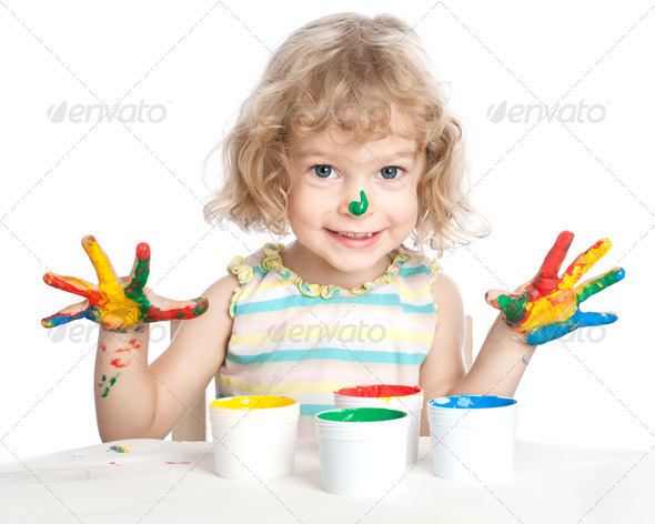 Child painting - Stock Photo - Images