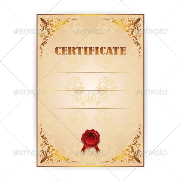 GraphicRiver Vector Gold Certificate with a Laurel Wreath 7791830