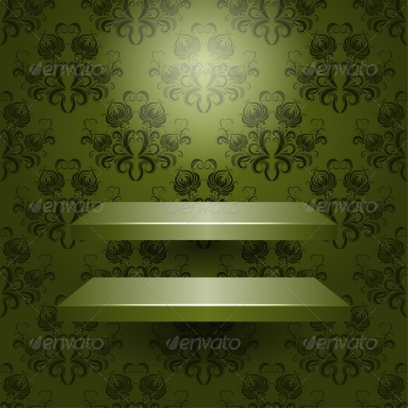 GraphicRiver Vector Two Empty Shelves Isolated 7791838