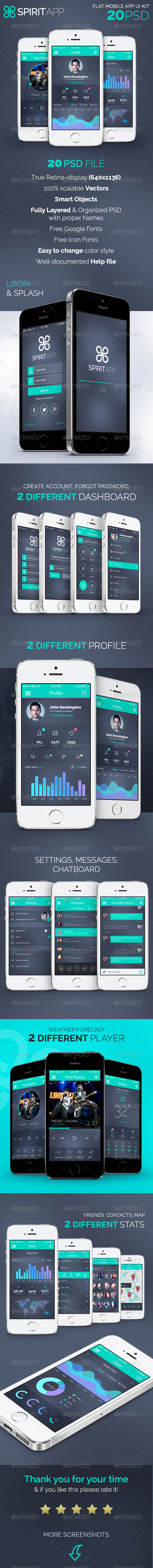 GraphicRiver SpiritApp Flat Mobile Design UI Kit 7791955