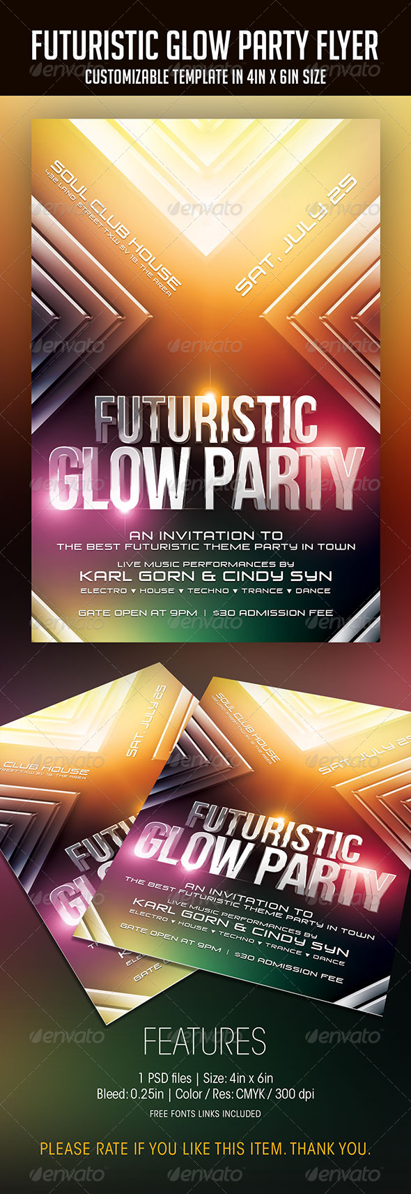 GraphicRiver Futuristic Glow Party Flyer 7792243